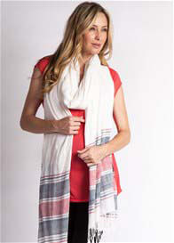 Queen Bee Oversized Scarf in Cream/Red Stripes by LA Made