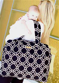 Queen Bee Satchel Nappy Bag in Black Lattice Print by Foxy Vida
