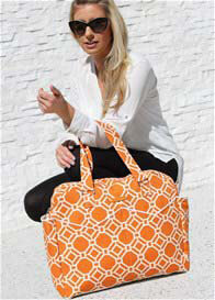 Queen Bee Satchel Nappy Bag in Tangelo Lattice Print by Foxy Vida