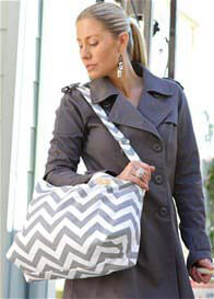 Queen Bee Baby Diaper Bag in Grey Chevron Stripes by Foxy Vida
