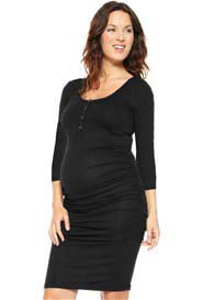 Queen Bee 3/4 Sleeve Black Maternity/Nursing Dress by NOM