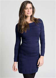 Ripe Maternity - Blue Self Stripe Nursing Tunic Dress