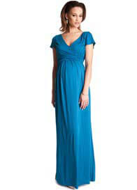 Seraphine - Aqua Draped Maternity Maxi Dress