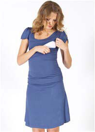 Quack Nursingwear - Cameron Angel Sleeve Nursing Dress in Blue