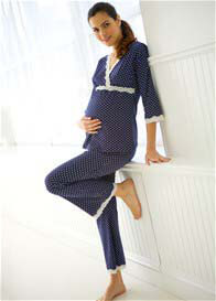 Queen Bee Dottie Navy Polkadot Maternity/Nursing Pyjama Set by Belabumbum