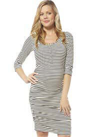 Queen Bee 3/4 Sleeve Black Stripe Maternity Nursing Dress by NOM