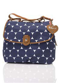 Queen Bee Navy Polka Dot Satchel Baby Bag by Babymel