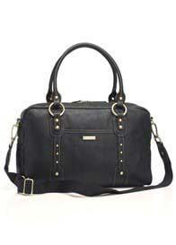 Queen Bee Elizabeth Baby Nappy Bag in Black Leather by Storksak