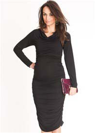 Queen Bee Black Ruched Bodycon Maternity Dress by Seraphine