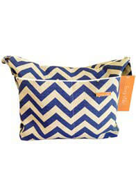 Queen Bee Baby Diaper Bag in Blue Denton Stripes by Foxy Vida