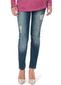 Queen Bee Distressed Maternity Skinny Jeans by Supermom