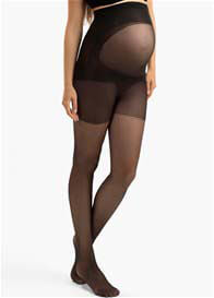 Queen Bee Ultra Sheer Black Belly Support Maternity Pantyhose by Blanqi