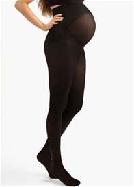 Queen Bee Black Opaque Belly Support Maternity Tights by Blanqi