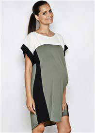 Queen Bee Layla Olive Green Colourblock Maternity Dress by Imanimo