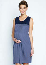 Queen Bee Babydoll Nursing Dress in Navy Blue Check by Maternal America