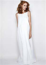 Queen Bee Harper White Maternity Maxi Dress by Imanimo