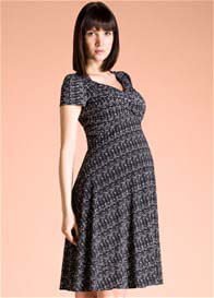 Queen Bee Black Onyx Print Sweetheart Maternity Dress by Leota