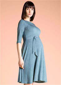 Queen Bee Ilana Blue Lattice Print Maternity Dress by Leota