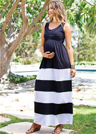 Queen Bee Black/White Maternity/Nursing Maxi Dress by Maternal America