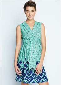 Queen Bee Rhinestone Green Print Maternity Dress by Maternal America