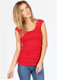 Queen Bee Red Cap Sleeve Breastfeeding Top by Quack Nursingwear