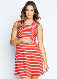 Queen Bee Red Striped Single Pleat Maternity Dress by Maternal America