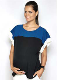 Queen Bee Anna Blue Colourblock Maternity Top by Imanimo