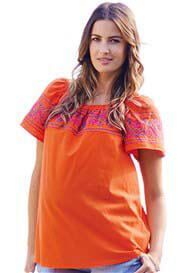 Queen Bee Orange Embroidered Peasant Maternity Top by Maternal America