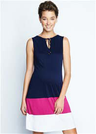 Queen Bee Navy/Pink/White Colourblock Maternity Dress by Maternal America
