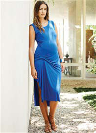 Queen Bee Belly Pleat Maternity Dress in Royal Blue by Maternal America