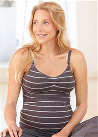Queen Bee Pewter Grey Stripe Seamless Maternity/Nursing Cami by Amoralia