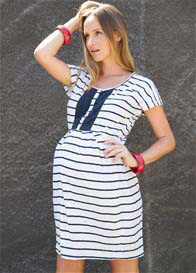 Queen Bee Birdie Blue Striped Short Sleeve Maternity Dress by Fillyboo