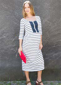 Queen Bee Pretty Stuff Blue Striped Maternity Midi Dress by Fillyboo