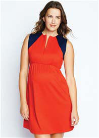Queen Bee Front Zip Maternity Dress in Navy/Red by Maternal America