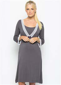 Queen Bee Pewter Grey Lace Trim Maternity/Nursing Nightdress by Amoralia