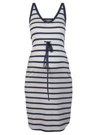 Queen Bee Beach Maternity Dress in White/Blue Stripes by Queen mum