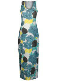Queen Bee Big Blue Flower Print Maternity Maxi Dress by Queen mum