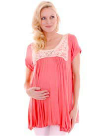 Queen Bee Regan Coral Lace Trim Boho Maternity Top by Everly Grey