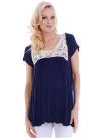 Queen Bee Regan Navy Blue Lace Trim Boho Maternity Top by Everly Grey