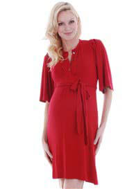 Queen Bee Lindsey Maternity Dress in Red by Everly Grey