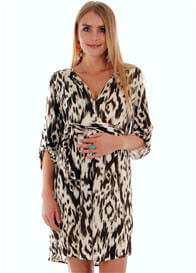 Queen Bee Hudson Maternity Dress in Ikat Print by Everly Grey