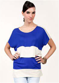 Queen Bee Sidney Nursing Top in Blue/Beige by Dote Nursingwear
