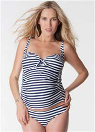 Queen Bee Blue Striped Maternity Tankini by Seraphine