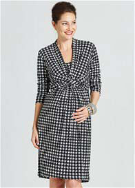 Queen Bee Black Houndstooth Print Nursing Dress by Milky Way Nursingwear