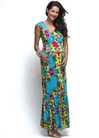 Queen Bee Blue Floral Island Maternity/Nursing Maxi Dress by Milky Way