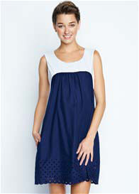 Queen Bee Baby Doll Maternity Dress in White/Navy Eyelet by Maternal America