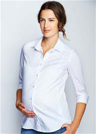 Queen Bee Poplin Maternity Blouse in White by Maternal America