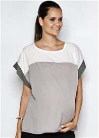 Queen Bee Anna Maternity Colourblock Top in Blush by Imanimo