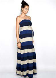 Queen Bee Taylor Maternity Strapless Dress in Bold Blue Stripes by Imanimo