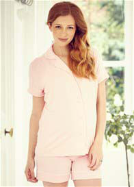 Queen Bee Daddy Maternity PJ Short Set in Petal Pink by Amoralia